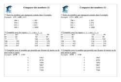 Comparer des nombres – Ce1 – Exercices – Numération – Cycle 2