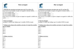 Pair ou impair - Ce1 - Exercices - Numération - Cycle 2