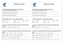 Ranger des nombres – Ce1 – Exercices – Numération – Cycle 2