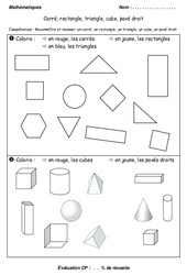 Carré, rectangle, triangle et cube, pavé – Cp – Evaluation