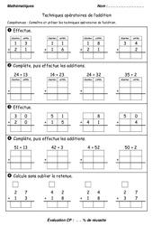 Techniques opératoires de l'addition – Cp – Evaluation
