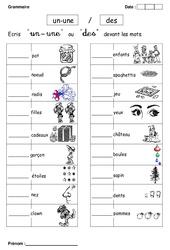 Un, une ou des – Cp – Exercices – Grammaire – Cycle 2
