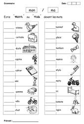Mon ou ma – Cp – Exercices – Grammaire – Cycle 2