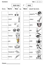 Mon, ma ou mes – Cp – Exercices – Grammaire – Cycle 2