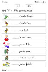 Il ou Elle – Cp – Exercices – Grammaire – Cycle 2