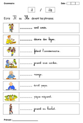 Il ou Ils – Cp – Exercices – Grammaire – Cycle 2