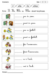 Il, elle – Ils ou elles – Cp – Exercices – Grammaire – Cycle 2