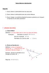 Calcul littéral et distributivité – 5ème – Cours – Exercices – Collège – Mathématiques