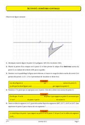 Symétrie centrale – 5ème – Cours – Exercices – Géométrie – Collège – Mathématiques