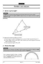 Angles – 6ème – Géométrie – Cours – Exercices – Collège – Mathématiques