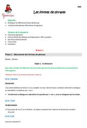 Formes de phrases – Cm1 – Fiche de préparation