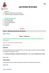 Formes de phrases – Cm2 – Fiche de préparation