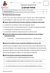 Groupe nominal – GN – Cm2 – Evaluation – Bilan