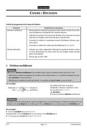 Division – 6ème – Cours – Exercices – Collège – Mathématiques