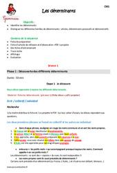 Déterminants – Cm1 – Fiche de préparation
