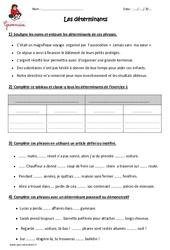 Déterminants – Cm1 – Exercices à imprimer