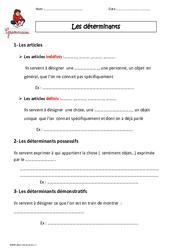Déterminants – Cm1 – Leçon à imprimer