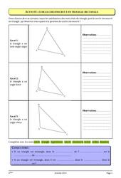 Triangle rectangle - Cercle circonscrit - 4ème – Géométrie – Cours – Exercices – Collège – Mathématiques