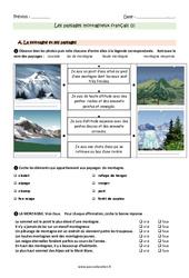 Paysages montagneux français – Ce2 – Exercices avec les corrections