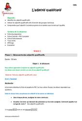 Adjectif qualificatif – Cm1 – Fiche de préparation