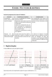 Vecteurs et repères – 3ème – Cours – Exercices – Collège – Mathématiques