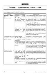 Translations et vecteurs – 3ème – Cours – Exercices – Collège – Mathématiques