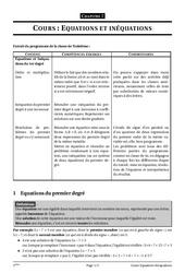 Equations et inéquations – 3ème – Cours – Exercices – Collège – Mathématiques