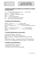 Accorder le participe passé avec être et avoir - Cm1 – Exercices corrigés – Orthographe – Cycle 3
