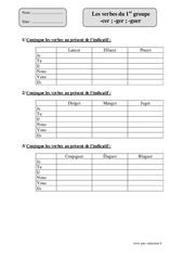 Verbes du 1er groupe -cer ; -ger ; -guer   - Cm1 – Exercices corrigés – Conjugaison – Cycle 3