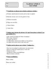 Phrase verbale et non verbale – Cm1 – Exercices corrigés – Grammaire – Cycle 3