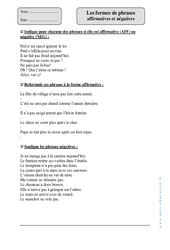 Formes de phrases affirmatives et négatives – Cm1 – Exercices corrigés – Grammaire – Cycle 3