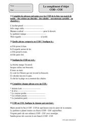 COD - COI - Cm1 - Exercices corrigés - Grammaire - Cycle 3