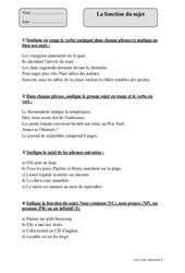Exercice Sujet, groupe sujet : CM1 - Cycle 3 - Pass Education