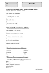Verbe - Cm1 - Exercices corrigés - Grammaire - Cycle 3