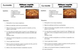 Recette - Le gâteau aux pommes - Ce2 – Lecture - Textes prescriptifs, fonctionnels – Cycle 3