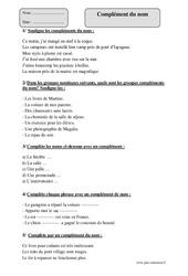 Complément du nom – Cm1 – Exercices corrigés – Grammaire – Cycle 3