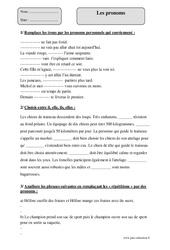 Pronoms – Cm1 – Exercices corrigés – Grammaire – Cycle 3