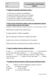 Proposition subordonnée relative – Cm1 – Exercices corrigés – Grammaire – Cycle 3