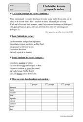Infinitif et les trois groupes de verbes – Cm1 – Exercices corrigés – Conjugaison – Cycle 3