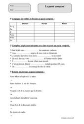 Passé composé - Cm1 – Exercices corrigés – Conjugaison – Cycle 3