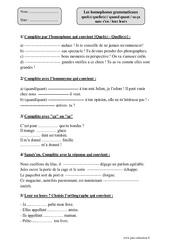 Homophones grammaticaux quel(s) quelle(s) / quand quant / sa ça sans s'en / leur leurs – Cm2 – Exercices corrigés – Orthographe – Cycle 3