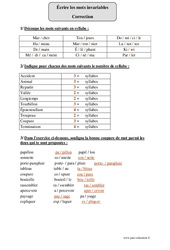 Coupe syllabique – Cm2 – Exercices corrigés – Orthographe – Cycle 3