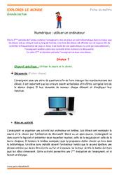 Utiliser un ordinateur – Grande section – Fiche de prep
