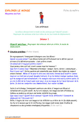 Animaux – Déplacement – Moyenne section – Fiche de prep