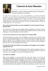 L'interview de Laure Manaudou – Cm1 – Cm2 – Texte théâtrale – Lecture – Cycle 3