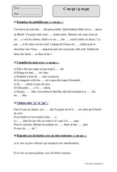 C ou qu – g ou gu  – Cm2 – Sons difficiles – Exercices corrigés – Orthographe – Cycle 3