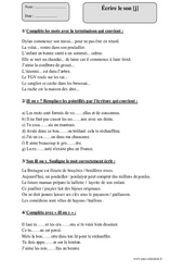 Écrire le son [j] – Cm2 – Sons difficiles – Exercices corrigés – Orthographe – Cycle 3