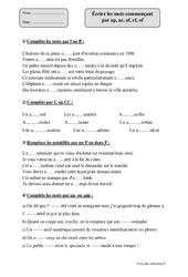 Écrire les mots commençant par ap, ac, af, ef, of – Cm2 – Exercices corrigés – Orthographe – Cycle 3