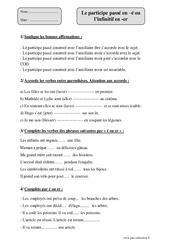Participe passé en –é ou l'infinitif en -er - Cm2 - Exercices corrigés – Orthographe – Cycle 3
