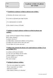 Phrase verbale - Phrase non verbale – Cm2 – Exercices corrigés – Grammaire – Cycle 3